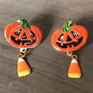 Lunch at the Ritz Pumpkin Candy Corn Earrings